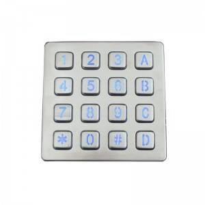 16 buttons stainless steel LED backlight kiosk keypad B881