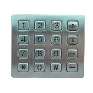 16 keys kiosk keypad metal LED backlight keypad B881