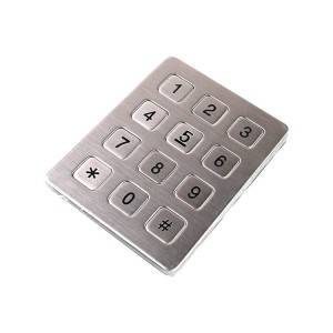 12 keys 3×4 matrix digital metal keypad for Parcel terminals