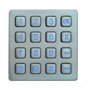 Waterproof LED numeric backlit keypad-B881