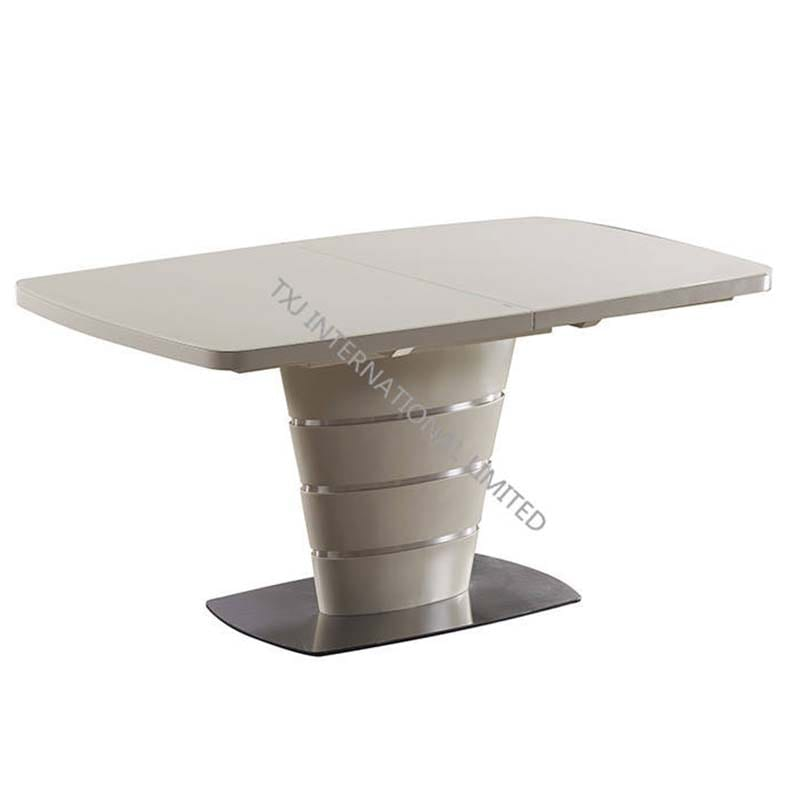 MIRANDA-DT MDF Extension Table With Cream Glass Featured Image