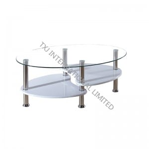 TT-1007 Tempered Glass Coffee Table With Stainless Steel Frame