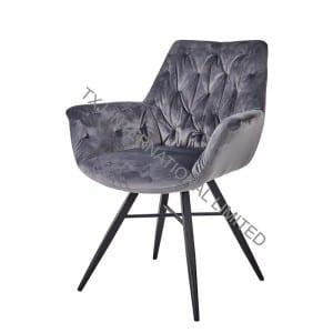 TC-1859 Velvet Dining Arm Chair With Black Legs