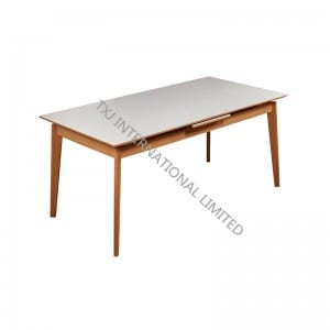 FALSTER-DT Ceramic Extension Table With Solid Wood Leg
