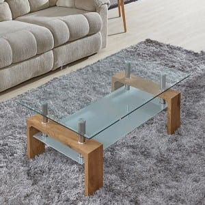 FOCUS-F Tempered Glass Coffee Table With MDF Frame