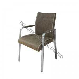 ALISA-4 Fabric Dining Chair Armchair With Brushed Stainless Steel Tube