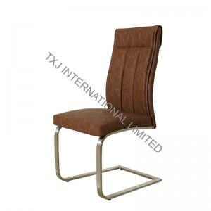 ROCKY-CH PU Dining Chair with Brushed Stainless Steel Legs