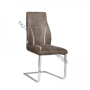 LINE Fabric Dining Chair With Chromed Legs