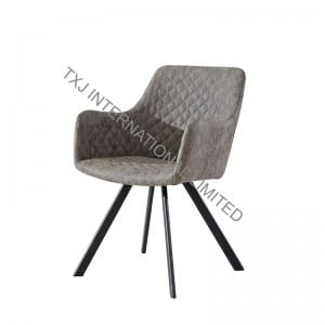 TC-1785 Vintage PU Dining Chair Armchair With Black Legs