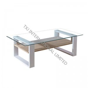 BT-1408B Tempered Glass Coffee Table With MDF Leg