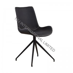 LOWA Fabric Dining Chair With Black Powder Coating Legs