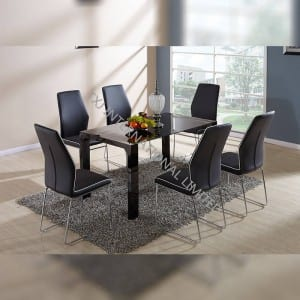 BD-1418 Black tempered glass dining table
