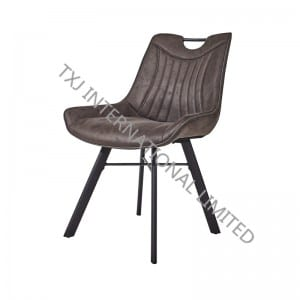 TC-1872 Vintage Fabric Dining Chair With Black Powder Coating Legs