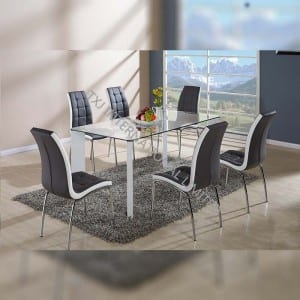 BD-1414 Tempered Glass Dining Table With 6 Chairs Set