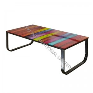 COLOR Tempered Glass Coffee Table With MDF Frame
