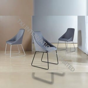 TC-1653 Fabric Dining Chair With Black Powder Coating Legs