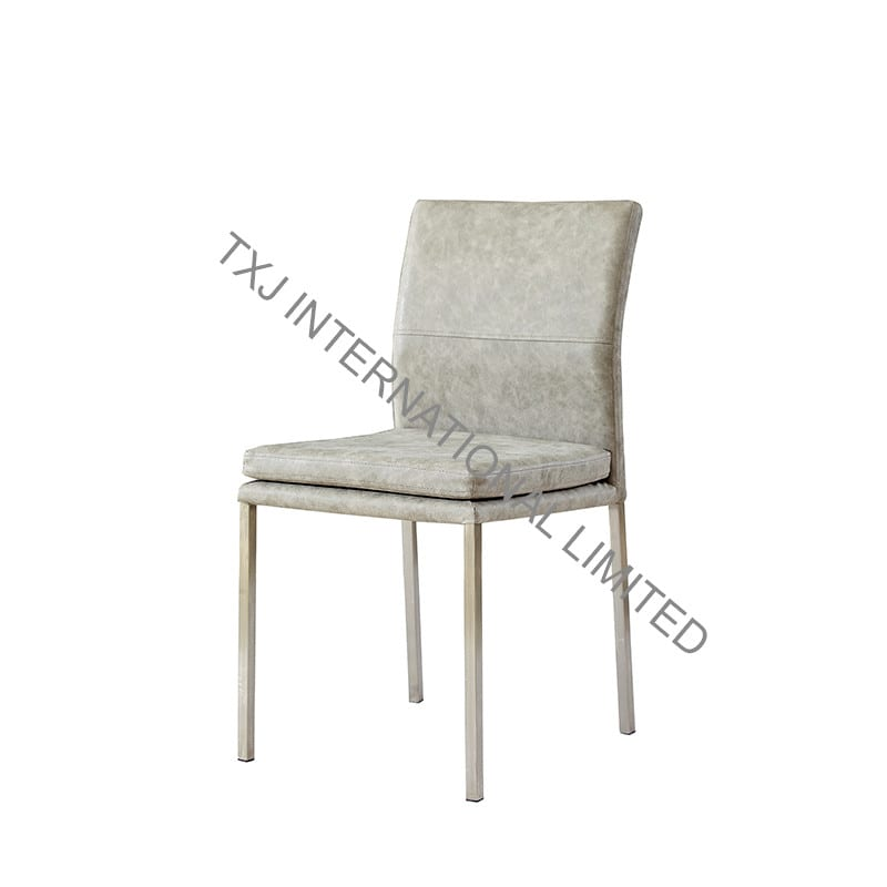 CARSEN-2 PU Dining Chair With Brushed Stainless Steel Frame Featured Image