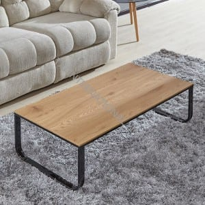 BT-1737 MDF Coffee Table With Oak Paper Veneer Metal Leg