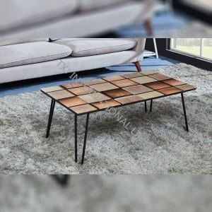 TT-1856 Coffee Table with Painting Top Metal Frame