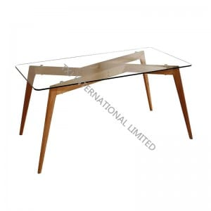 BARCELONA-DT Glass Table With Wood Leg