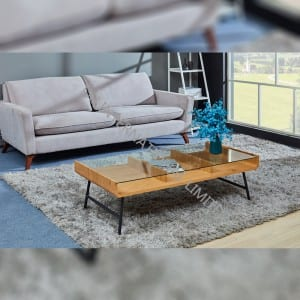 TT-1860 Tempered Glass Coffee Table With MDF Shelf