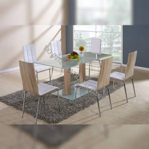 TD-1393 Tempered Glass Table With 6 Chairs For Kitchen Room