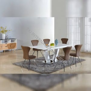 TD-1652 white painting MDF Extension Table Set With 6 Chairs