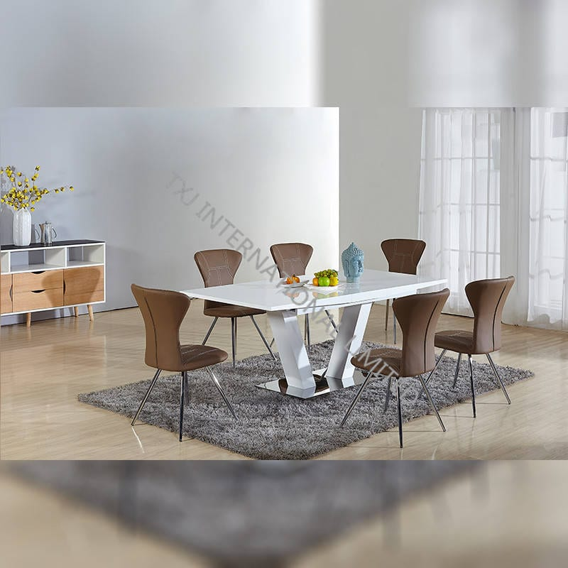 TD-1652 MDF Extension Table With 6 Chairs Set Featured Image