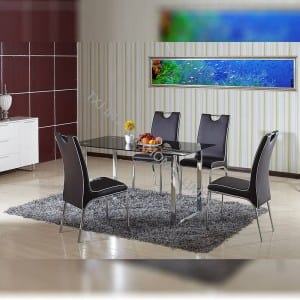 TD-1223 Black tempered glass dining table, with chroming frame