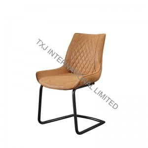 TC-1787 Vintage PU Dining Chair With Black Powder Coating Legs