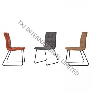TC-1881 Vintage PU Dining Chair With Black Powder Coating Legs