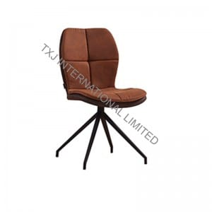 ANYA Fabric Dining Chair Armchair With Black Powder Coating Legs