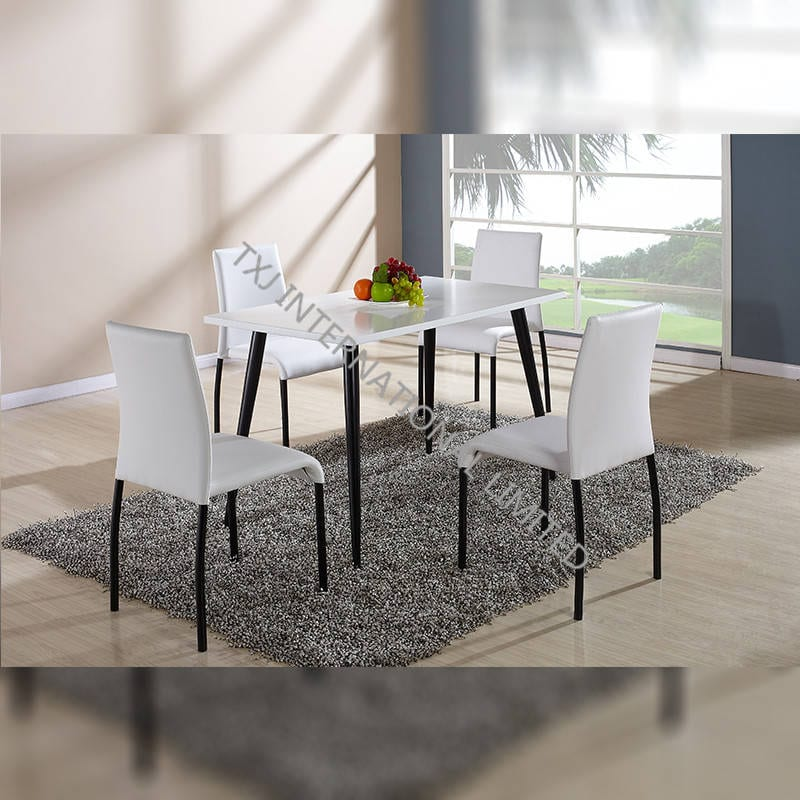 China Bd 1411 Mdf Dining Table Matt White Painting Dining Room Table 4 Chairs Manufacturers And Suppliers Txj