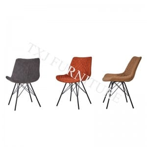 TC-1882 Vintage PU Dining Chair With Black Powder Coating Legs