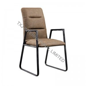 AUSTIN-WR Vintage PU Dining Arm Chair With Black Metal Frame