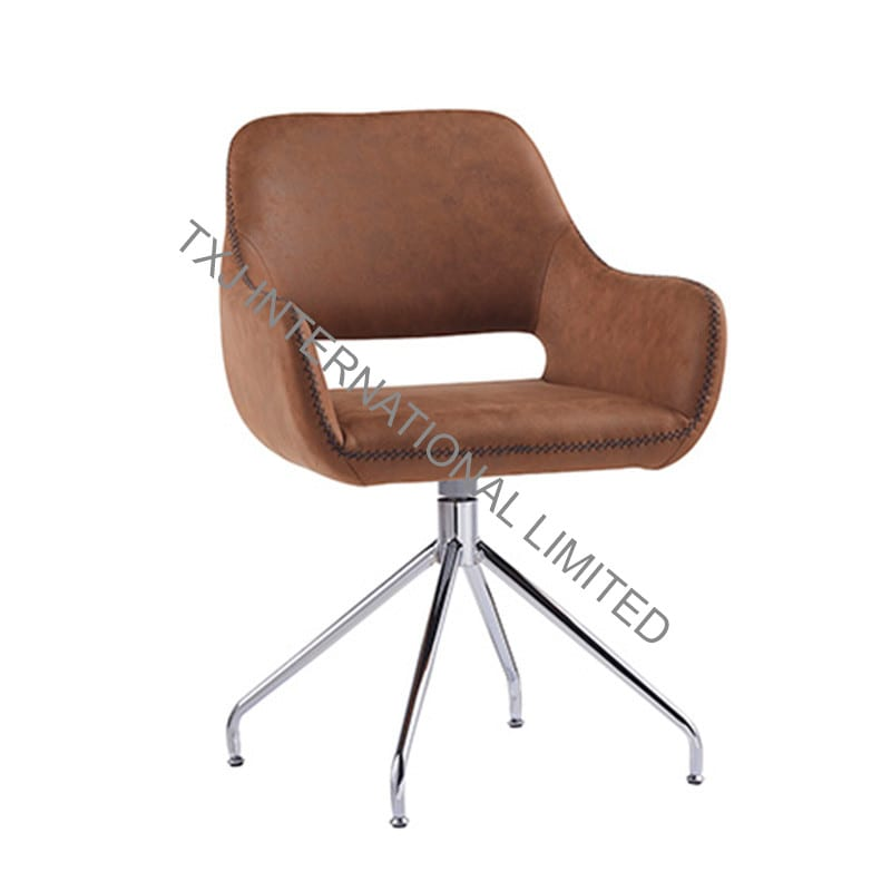 TALIA PU Dining Chair/Armchair with Chromed Legs With 360 turning function Featured Image