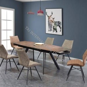 TD-1837 Tempered Glass Extension Dining table, Glaze painting
