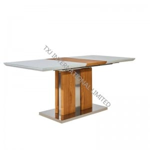 TD-1855 MDF Extension Table with white glass