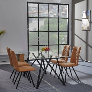 BD-1753 Tempered Glass Table with 4 Chairs Set