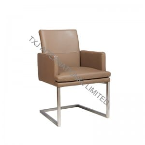 TORONTO-AR Split Leather Dining Arm Chair With Brushed Stainless Steel Frame