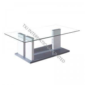 BT-1422 Tempered Glass Coffee Table With MDF Leg