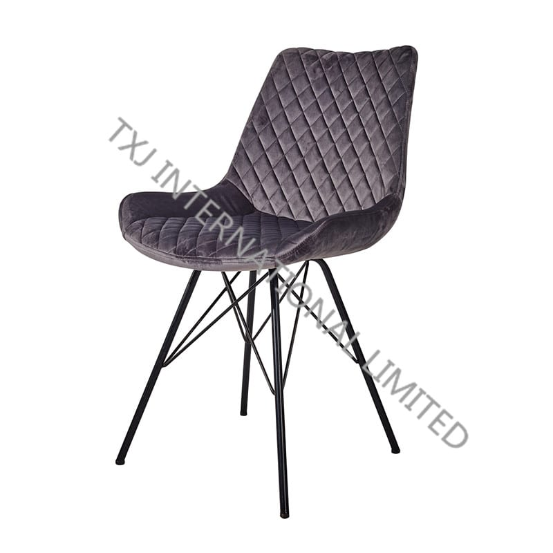 TC-1883 Velvet Dining Chair With Black Frame Featured Image