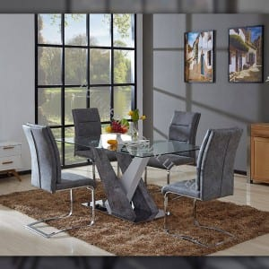 TD-1772 Tempered glass hot selling dining table MDF frame