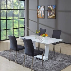 TD-1758 MDF Extension Table, with glass white color
