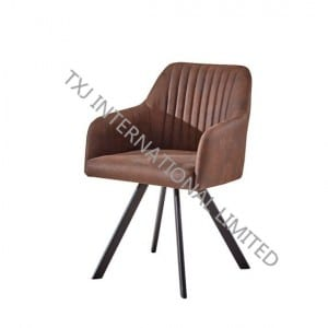 TC-1708A Fabric Dining Arm Chair With Black Powder Coating Legs