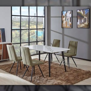 Cheap price Black Coffee Table - TD-1700 Factory Selling Home Furniture Mdf Dining Table Metal Legs And Glossy Table Top – TXJ