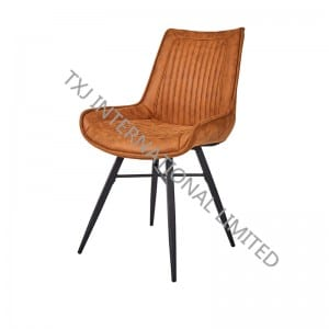 TC-1871 Vintage Fabric Dining Chair With Black Powder Coating Legs