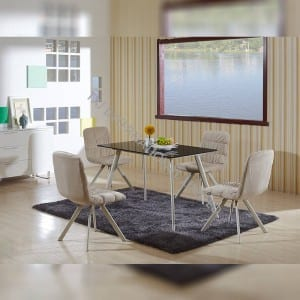 TD-1458 Tempered Glass Dining Table With Metal Frame