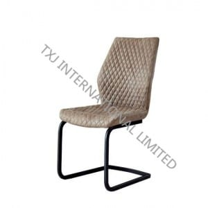 TC-1736 Vintage PU Dining Chair With Black Color Frame