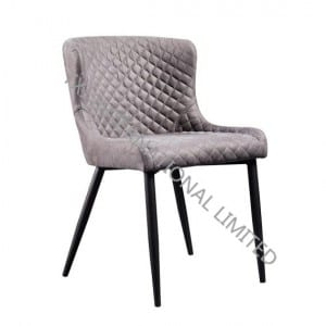 TC-1837 Fabric Dining Chair With Black Powder Coating Legs